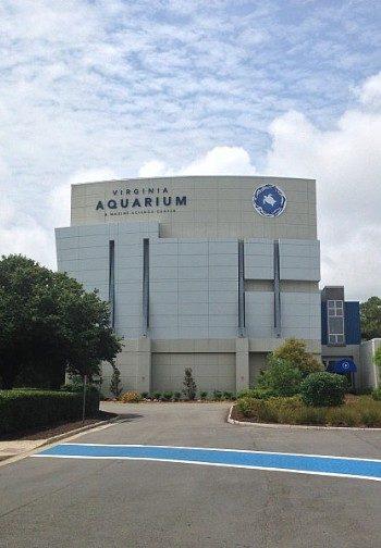 Large white building with unique architecture - the Virginia Aquarium.